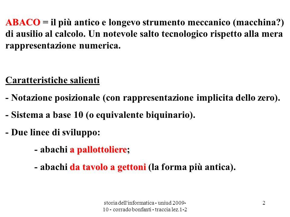 storia dell'informatica - uniud 2009- 10 - corrado bonfanti - traccia lez.1-2 2 ABACO ABACO = il più antico e longevo strumento meccanico (macchina?)