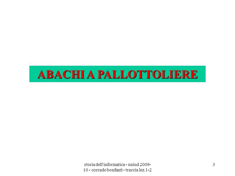 storia dell'informatica - uniud 2009- 10 - corrado bonfanti - traccia lez.1-2 3 ABACHI A PALLOTTOLIERE