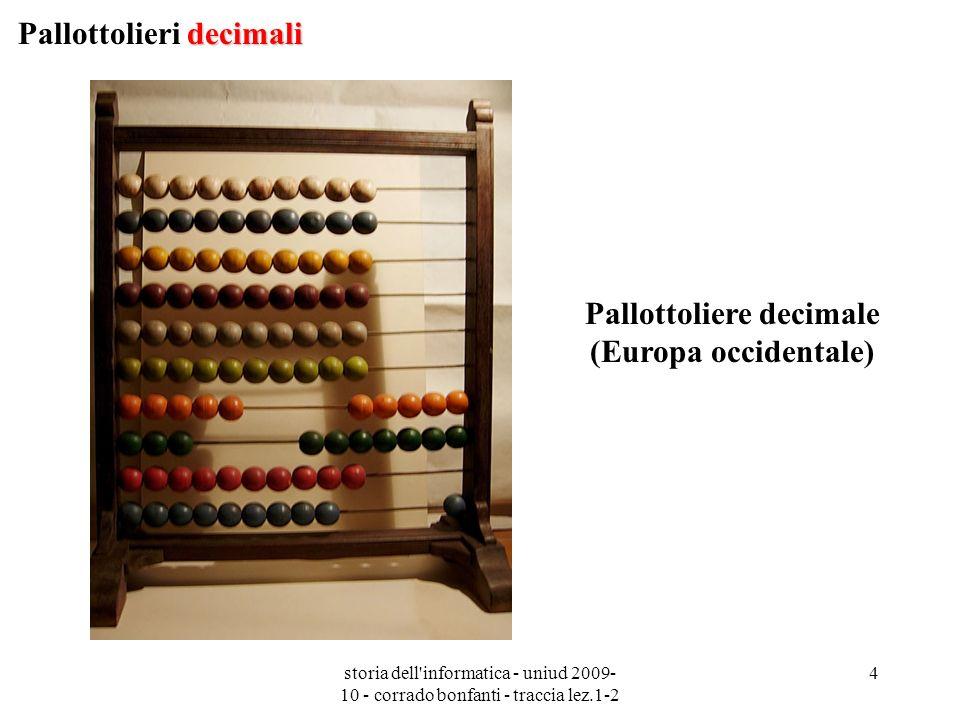 storia dell'informatica - uniud 2009- 10 - corrado bonfanti - traccia lez.1-2 4 Pallottoliere decimale (Europa occidentale) decimali Pallottolieri dec