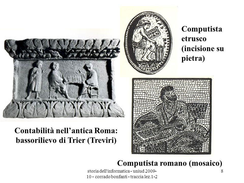 storia dell'informatica - uniud 2009- 10 - corrado bonfanti - traccia lez.1-2 8 Contabilità nellantica Roma: bassorilievo di Trier (Treviri) Computist