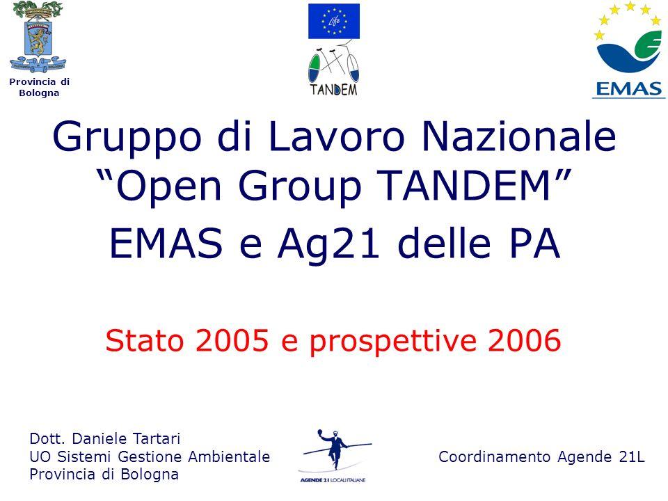 Provincia di Bologna Gruppo di Lavoro Nazionale Open Group TANDEM EMAS e Ag21 delle PA Dott.