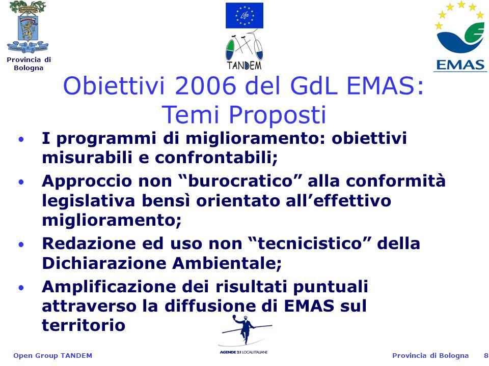 Provincia di Bologna Open Group TANDEM8 I programmi di miglioramento: obiettivi misurabili e confrontabili; Approccio non burocratico alla conformità legislativa bensì orientato alleffettivo miglioramento; Redazione ed uso non tecnicistico della Dichiarazione Ambientale; Amplificazione dei risultati puntuali attraverso la diffusione di EMAS sul territorio Obiettivi 2006 del GdL EMAS: Temi Proposti