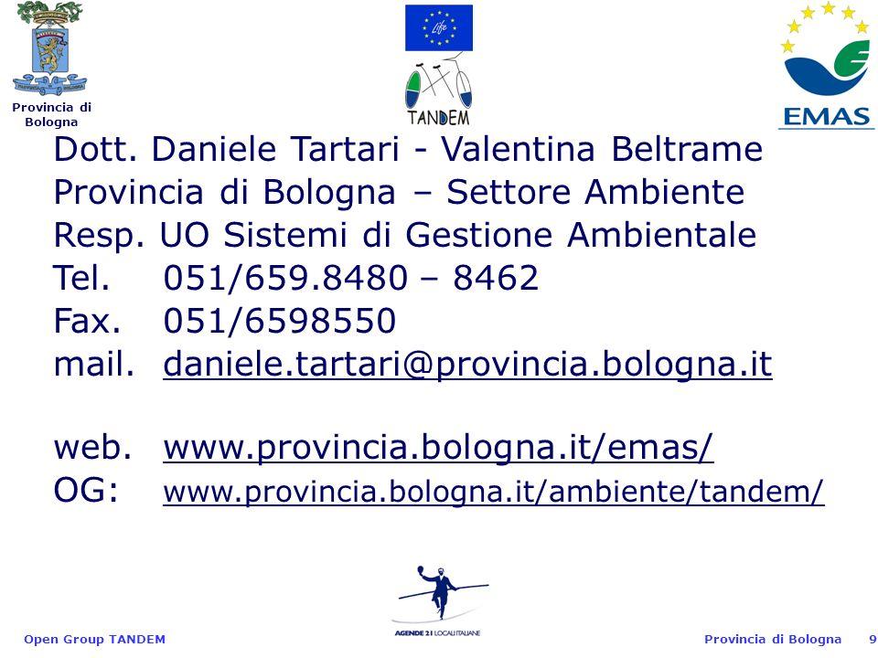 Provincia di Bologna Open Group TANDEM9 Dott.