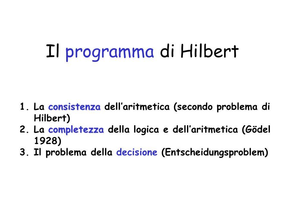 Il programma di Hilbert consistenza 1.La consistenza dellaritmetica (secondo problema di Hilbert) completezza 2.La completezza della logica e dellarit