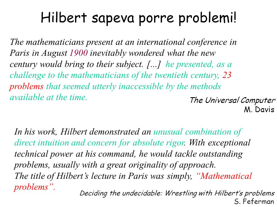 Hilbert sapeva porre problemi! The mathematicians present at an international conference in Paris in August 1900 inevitably wondered what the new cent