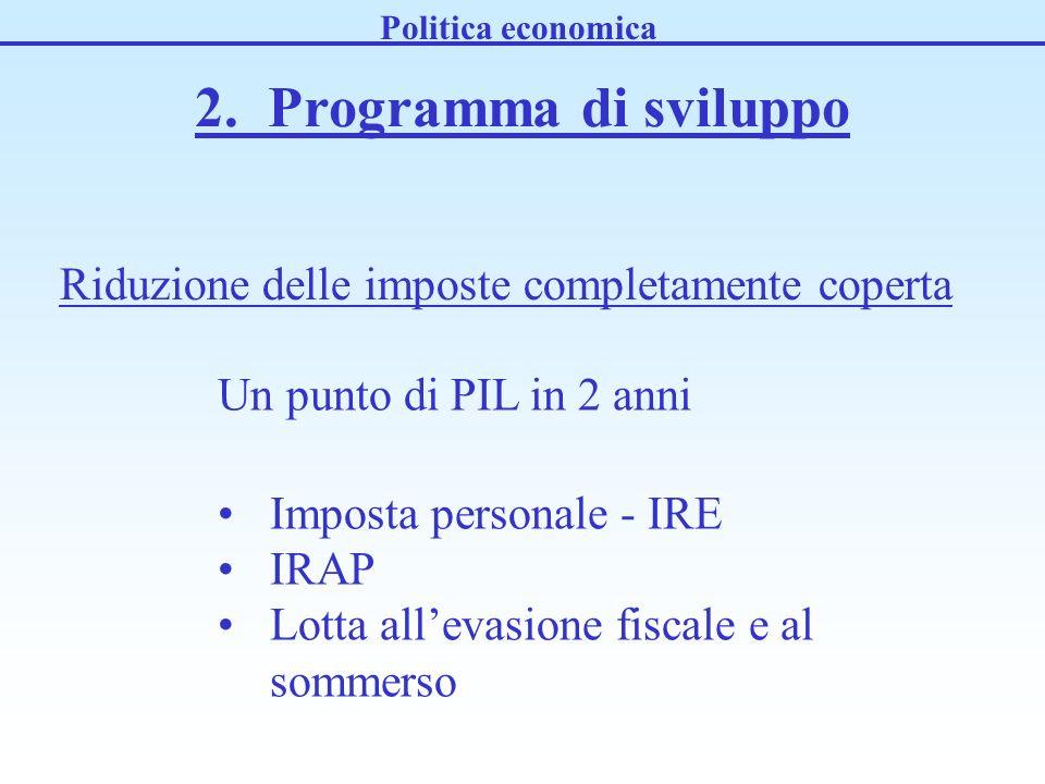 2. Programma di sviluppo Un punto di PIL in 2 anni Imposta personale - IRE IRAP Lotta allevasione fiscale e al sommerso Politica economica Riduzione d