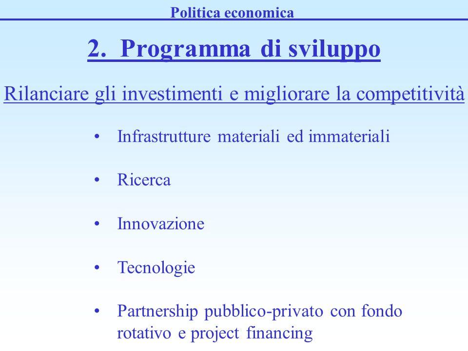 2. Programma di sviluppo Politica economica Rilanciare gli investimenti e migliorare la competitività Infrastrutture materiali ed immateriali Ricerca
