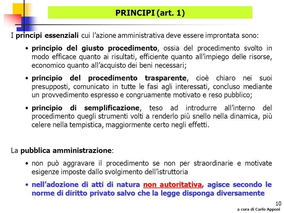 a cura di Carlo Apponi 10 PRINCIPI (art. 1) I principi essenziali cui lazione amministrativa deve essere improntata sono: principio del giusto procedi