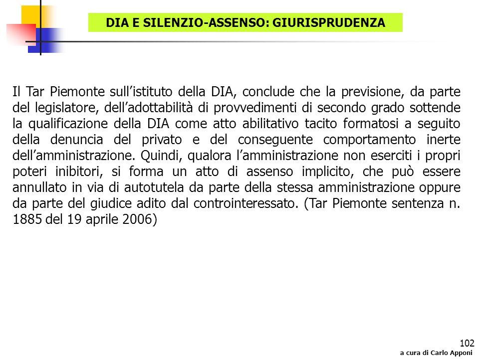 a cura di Carlo Apponi 102 DIA E SILENZIO-ASSENSO: GIURISPRUDENZA Il Tar Piemonte sullistituto della DIA, conclude che la previsione, da parte del leg