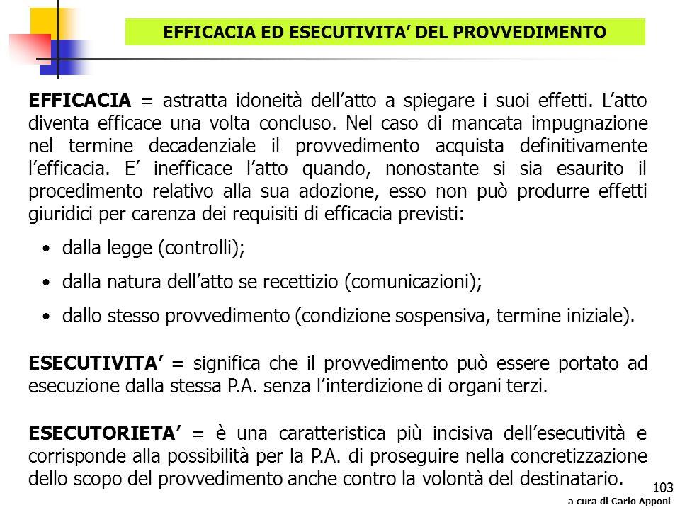 a cura di Carlo Apponi 103 EFFICACIA ED ESECUTIVITA DEL PROVVEDIMENTO EFFICACIA = astratta idoneità dellatto a spiegare i suoi effetti. Latto diventa
