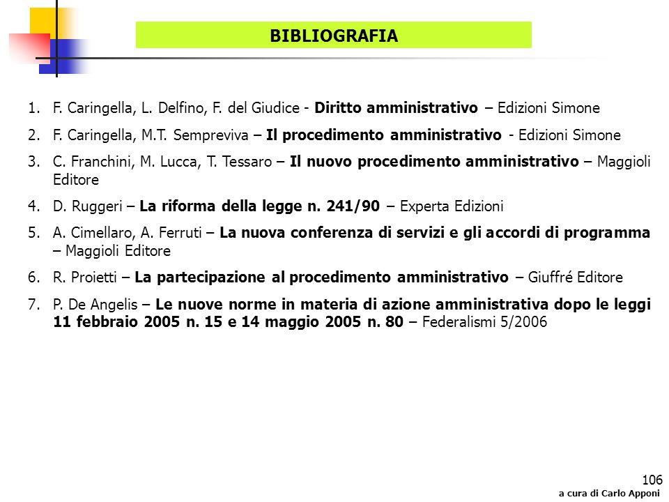 a cura di Carlo Apponi 106 BIBLIOGRAFIA 1.F. Caringella, L. Delfino, F. del Giudice - Diritto amministrativo – Edizioni Simone 2.F. Caringella, M.T. S