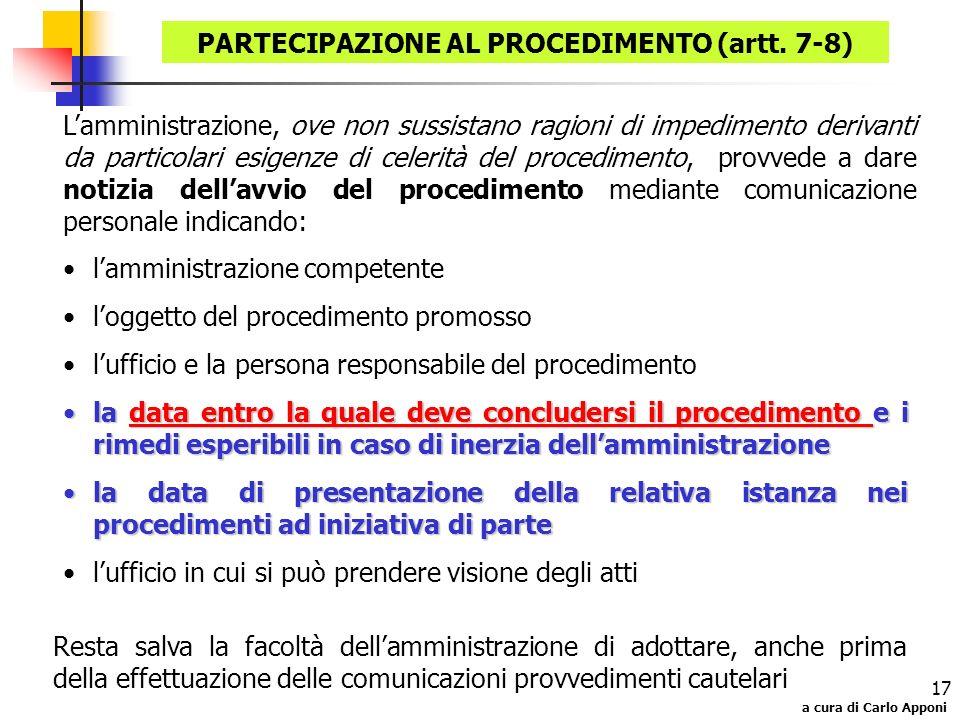 a cura di Carlo Apponi 17 lamministrazione competente loggetto del procedimento promosso lufficio e la persona responsabile del procedimento la data e