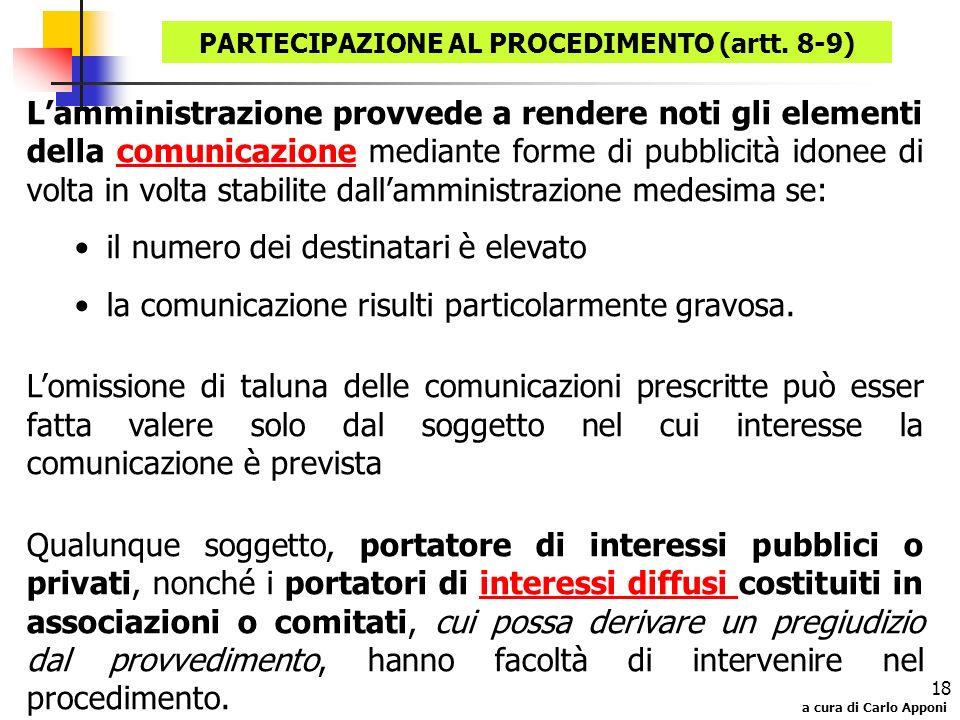 a cura di Carlo Apponi 18 Lamministrazione provvede a rendere noti gli elementi della comunicazione mediante forme di pubblicità idonee di volta in vo