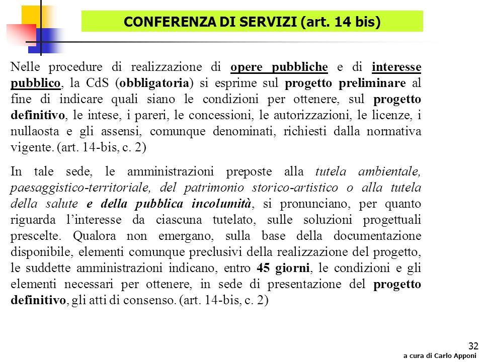 a cura di Carlo Apponi 32 Nelle procedure di realizzazione di opere pubbliche e di interesse pubblico, la CdS (obbligatoria) si esprime sul progetto p