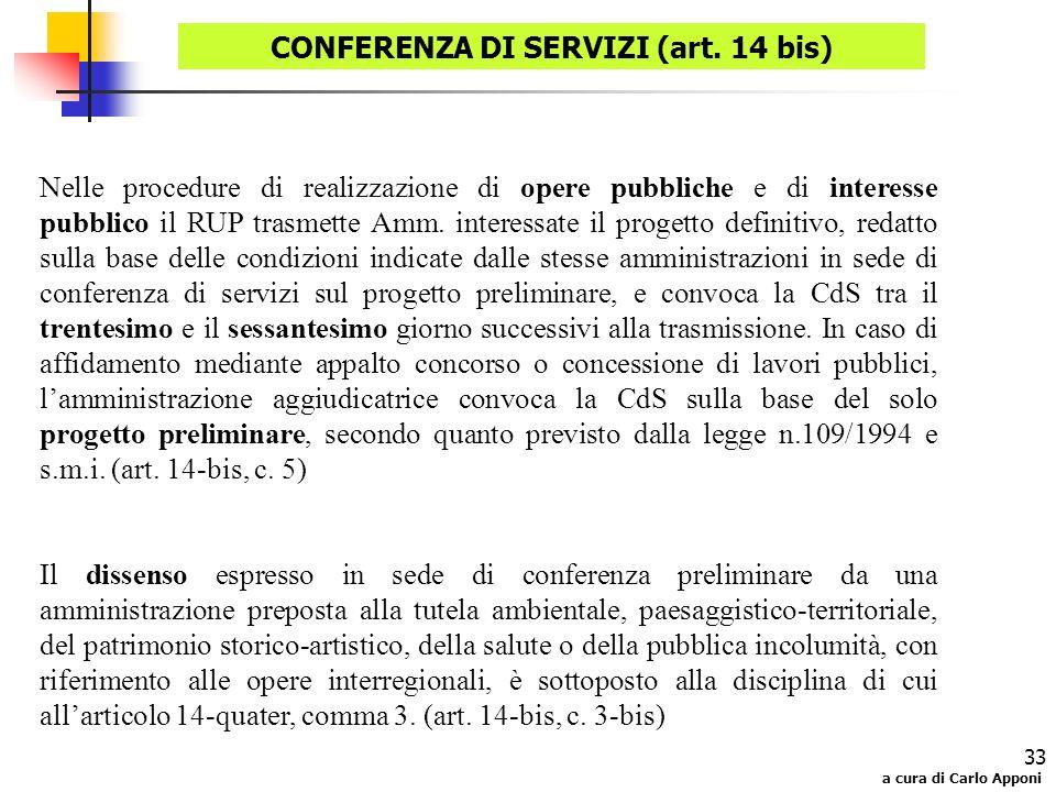 a cura di Carlo Apponi 33 Nelle procedure di realizzazione di opere pubbliche e di interesse pubblico il RUP trasmette Amm. interessate il progetto de