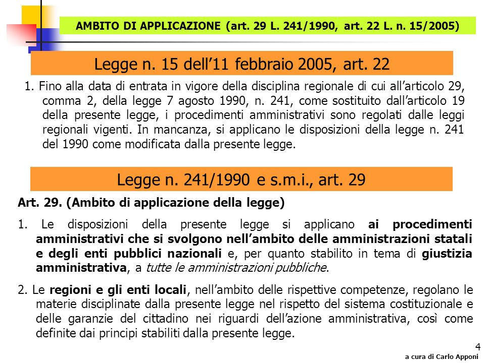 a cura di Carlo Apponi 4 Legge n. 15 dell11 febbraio 2005, art. 22 1. Fino alla data di entrata in vigore della disciplina regionale di cui allarticol