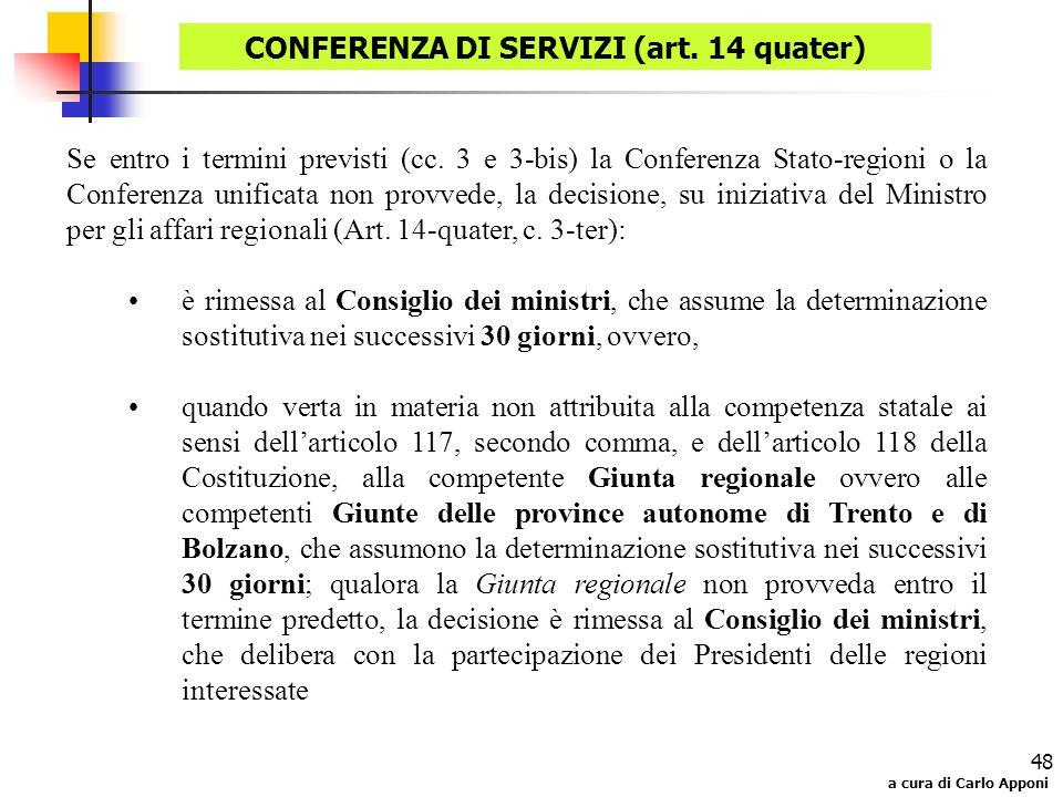 a cura di Carlo Apponi 48 Se entro i termini previsti (cc. 3 e 3-bis) la Conferenza Stato-regioni o la Conferenza unificata non provvede, la decisione