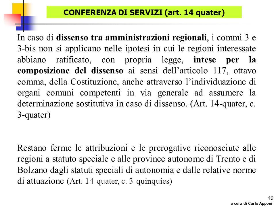 a cura di Carlo Apponi 49 In caso di dissenso tra amministrazioni regionali, i commi 3 e 3-bis non si applicano nelle ipotesi in cui le regioni intere