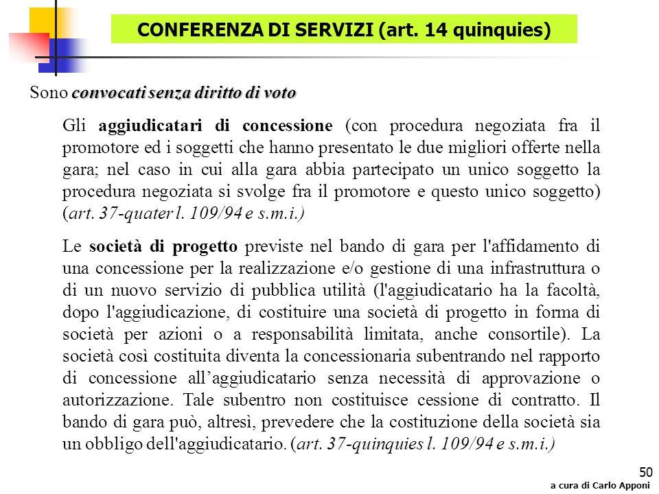 a cura di Carlo Apponi 50 convocati senza diritto di voto Sono convocati senza diritto di voto Gli aggiudicatari di concessione (con procedura negozia