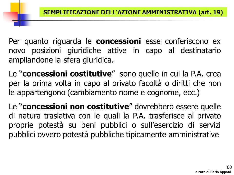 a cura di Carlo Apponi 60 Per quanto riguarda le concessioni esse conferiscono ex novo posizioni giuridiche attive in capo al destinatario ampliandone