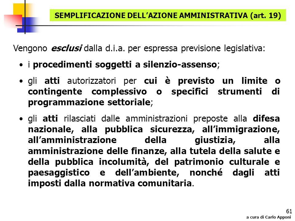a cura di Carlo Apponi 61 Vengono esclusi dalla d.i.a. per espressa previsione legislativa: i procedimenti soggetti a silenzio-assenso; gli atti autor