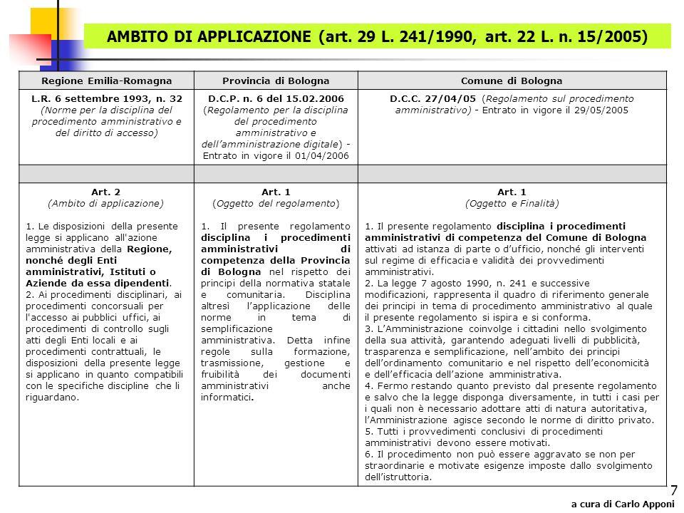 a cura di Carlo Apponi 7 AMBITO DI APPLICAZIONE (art. 29 L. 241/1990, art. 22 L. n. 15/2005) Regione Emilia-RomagnaProvincia di BolognaComune di Bolog