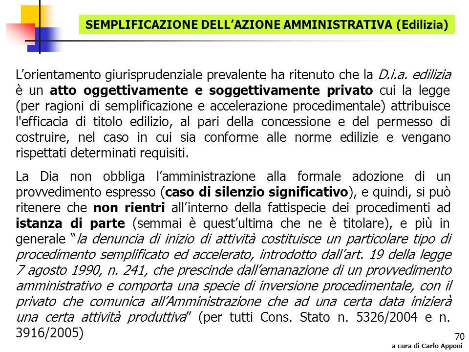 a cura di Carlo Apponi 70 Lorientamento giurisprudenziale prevalente ha ritenuto che la D.i.a. edilizia è un atto oggettivamente e soggettivamente pri