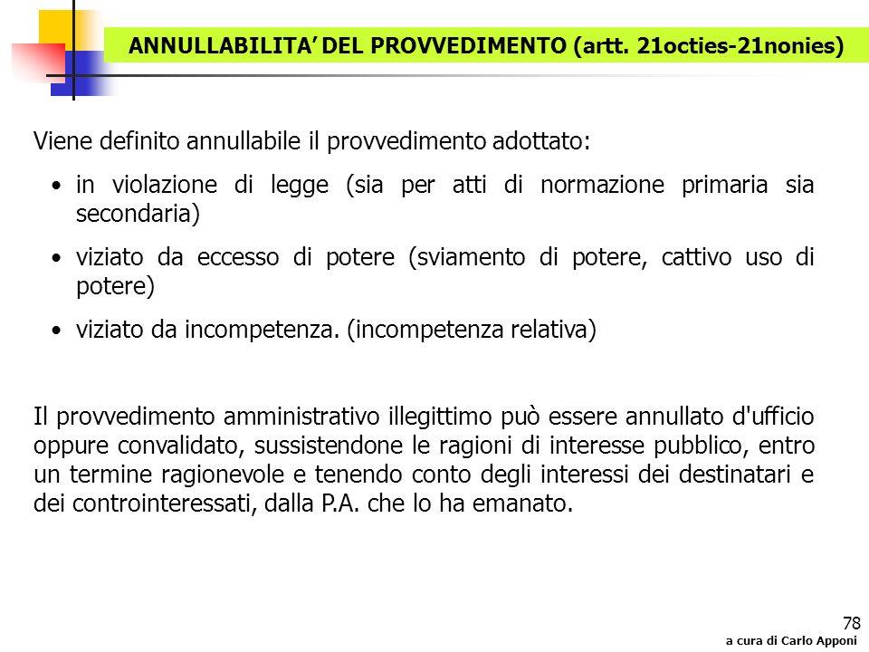 a cura di Carlo Apponi 78 Viene definito annullabile il provvedimento adottato: in violazione di legge (sia per atti di normazione primaria sia second