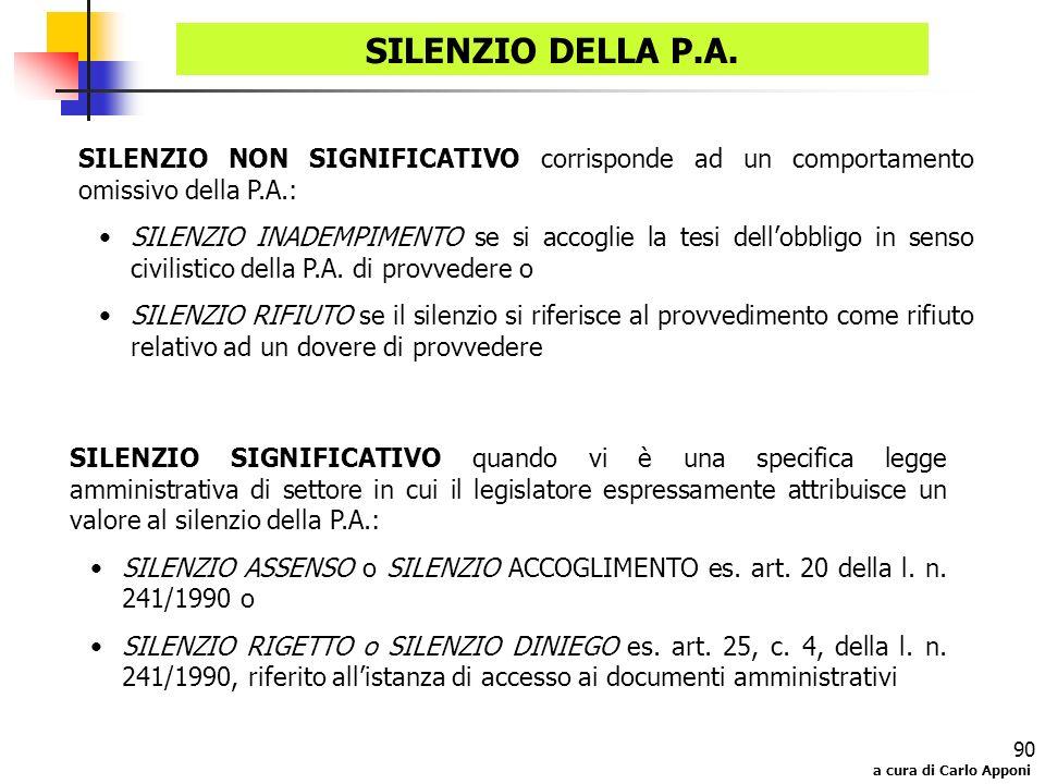 a cura di Carlo Apponi 90 SILENZIO DELLA P.A. SILENZIO NON SIGNIFICATIVO corrisponde ad un comportamento omissivo della P.A.: SILENZIO INADEMPIMENTO s