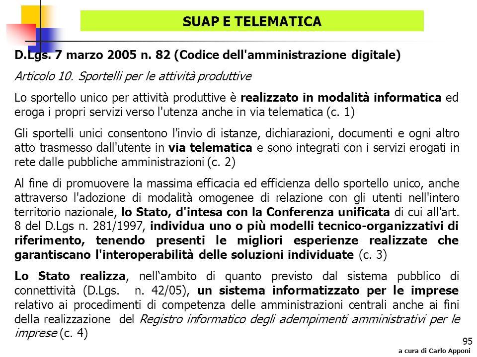 a cura di Carlo Apponi 95 D.Lgs. 7 marzo 2005 n. 82 (Codice dell'amministrazione digitale) Articolo 10. Sportelli per le attività produttive Lo sporte