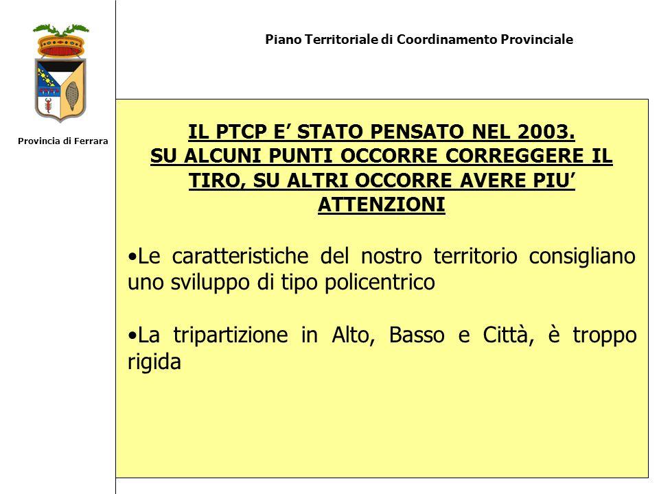 Piano Territoriale di Coordinamento Provinciale IL PTCP E STATO PENSATO NEL 2003. SU ALCUNI PUNTI OCCORRE CORREGGERE IL TIRO, SU ALTRI OCCORRE AVERE P