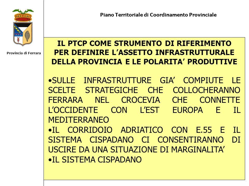 Piano Territoriale di Coordinamento Provinciale IL PTCP COME STRUMENTO DI RIFERIMENTO PER DEFINIRE LASSETTO INFRASTRUTTURALE DELLA PROVINCIA E LE POLA