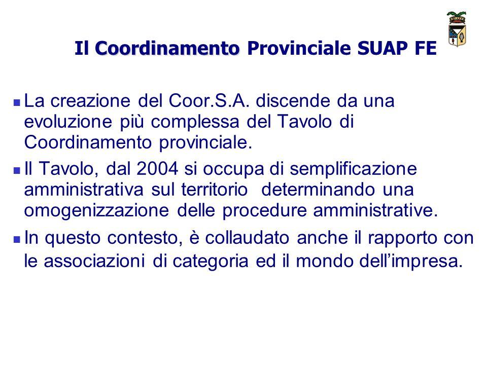 Coordinamento Il Coordinamento Provinciale SUAP FE La creazione del Coor.S.A.