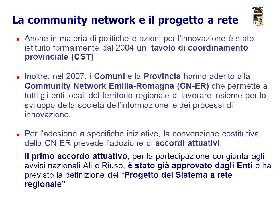 La community network e il progetto a rete Anche in materia di politiche e azioni per l innovazione è stato istituito formalmente dal 2004 un tavolo di coordinamento provinciale (CST) Inoltre, nel 2007, i Comuni e la Provincia hanno aderito alla Community Network Emilia-Romagna (CN-ER) che permette a tutti gli enti locali del territorio regionale di lavorare insieme per lo sviluppo della società dellinformazione e dei processi di innovazione.
