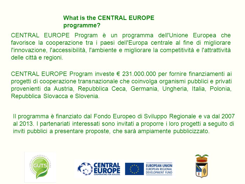 What is the CENTRAL EUROPE programme.