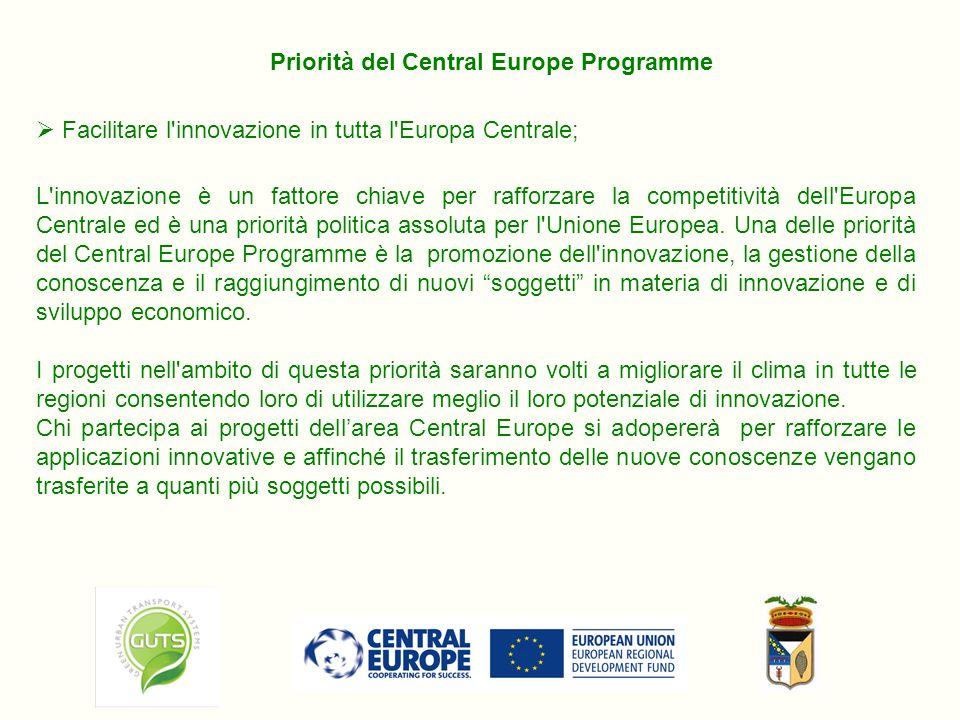 Facilitare l innovazione in tutta l Europa Centrale; Priorità del Central Europe Programme L innovazione è un fattore chiave per rafforzare la competitività dell Europa Centrale ed è una priorità politica assoluta per l Unione Europea.