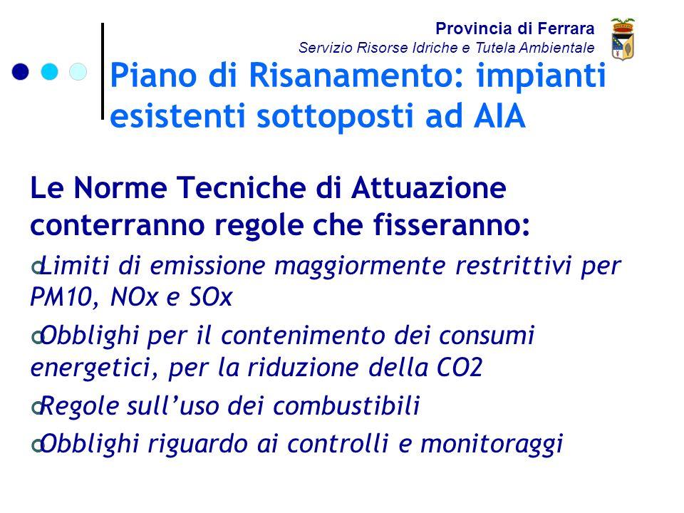 Piano di Risanamento: impianti esistenti sottoposti ad AIA Provincia di Ferrara Servizio Risorse Idriche e Tutela Ambientale Le Norme Tecniche di Attuazione conterranno regole che fisseranno: Limiti di emissione maggiormente restrittivi per PM10, NOx e SOx Obblighi per il contenimento dei consumi energetici, per la riduzione della CO2 Regole sulluso dei combustibili Obblighi riguardo ai controlli e monitoraggi