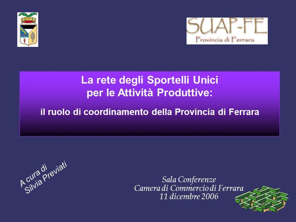 La rete degli Sportelli Unici per le Attività Produttive: il ruolo di coordinamento della Provincia di Ferrara Sala Conferenze Camera di Commercio di