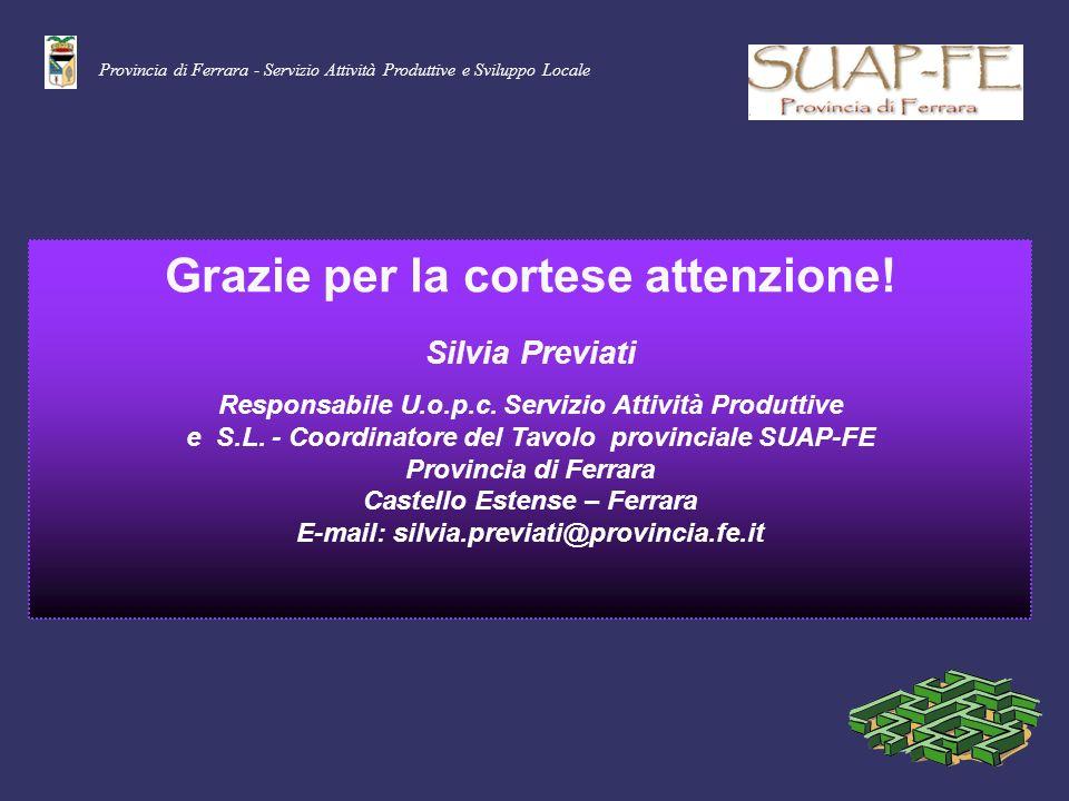 Provincia di Ferrara - Servizio Attività Produttive e Sviluppo Locale Grazie per la cortese attenzione! Silvia Previati Responsabile U.o.p.c. Servizio