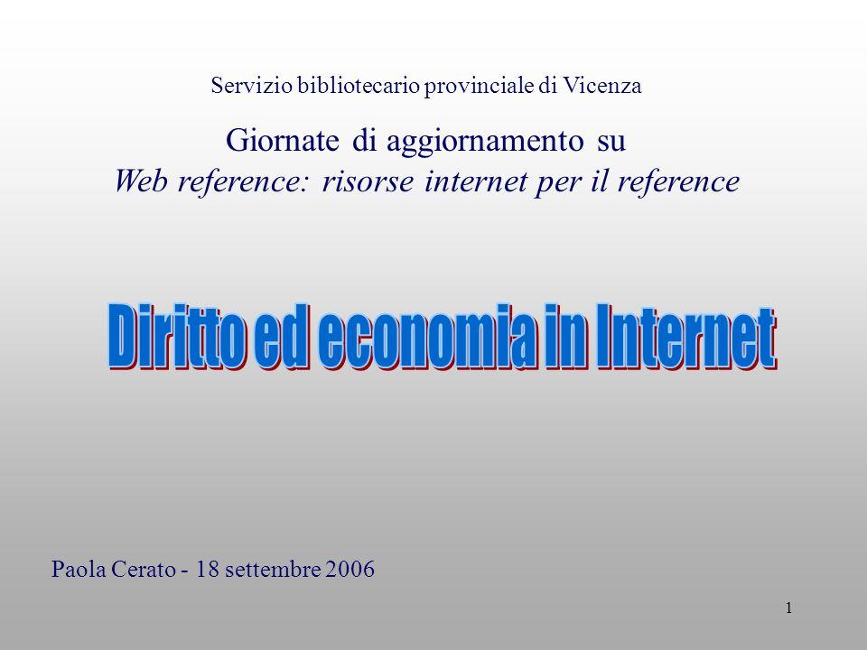 1 Servizio bibliotecario provinciale di Vicenza Giornate di aggiornamento su Web reference: risorse internet per il reference Paola Cerato - 18 settembre 2006