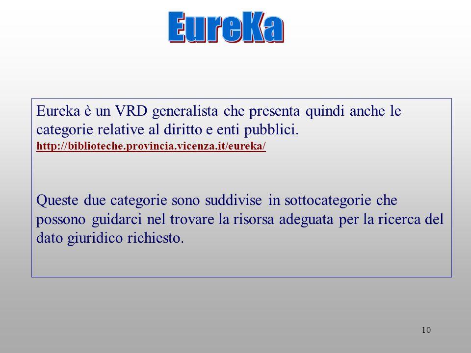 10 Eureka è un VRD generalista che presenta quindi anche le categorie relative al diritto e enti pubblici.