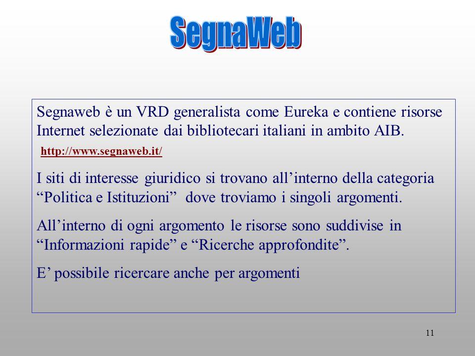 11 Segnaweb è un VRD generalista come Eureka e contiene risorse Internet selezionate dai bibliotecari italiani in ambito AIB.