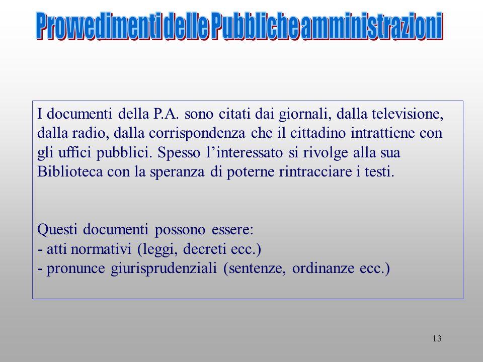13 I documenti della P.A.