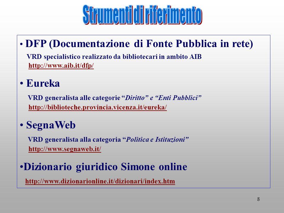 8 DFP (Documentazione di Fonte Pubblica in rete) VRD specialistico realizzato da bibliotecari in ambito AIB http://www.aib.it/dfp/http://www.aib.it/dfp/ Eureka VRD generalista alle categorie Diritto e Enti Pubblici http://biblioteche.provincia.vicenza.it/eureka/http://biblioteche.provincia.vicenza.it/eureka/ SegnaWeb VRD generalista alla categoria Politica e Istituzioni http://www.segnaweb.it/http://www.segnaweb.it/ Dizionario giuridico Simone online http://www.dizionarionline.it/dizionari/index.htm http://www.dizionarionline.it/dizionari/index.htm