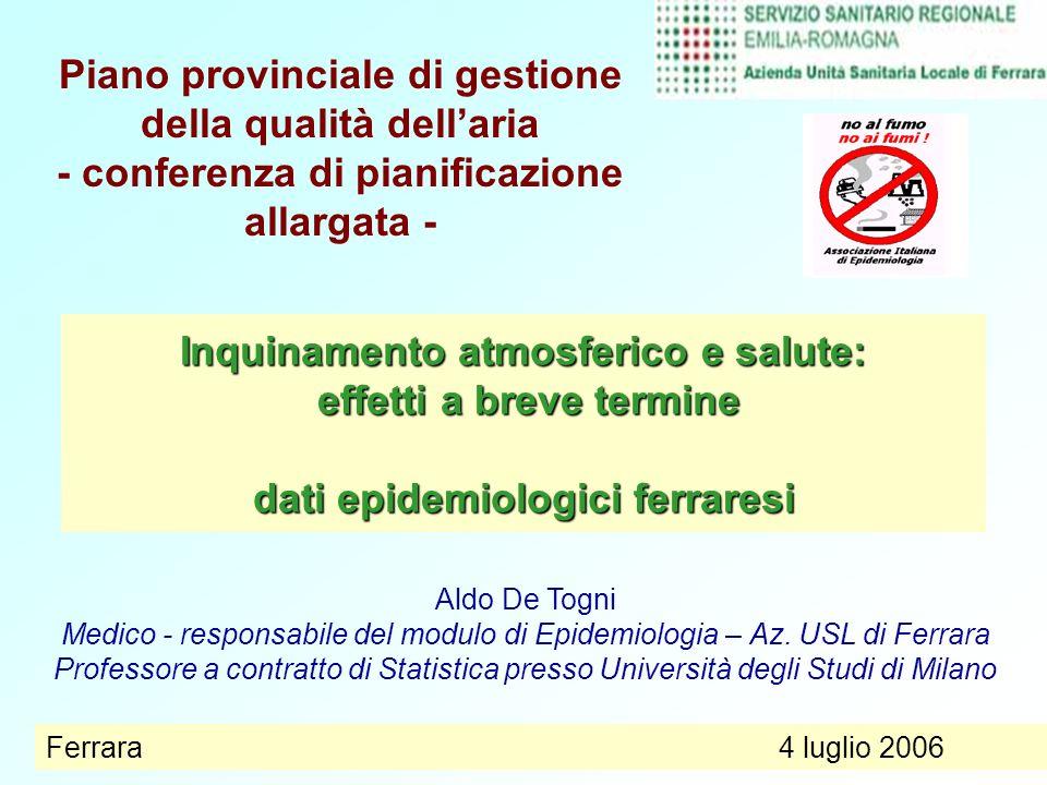 Ferrara, 4 Lugliodati epidemiologici1 Inquinamento atmosferico e salute: effetti a breve termine dati epidemiologici ferraresi Aldo De Togni Medico -