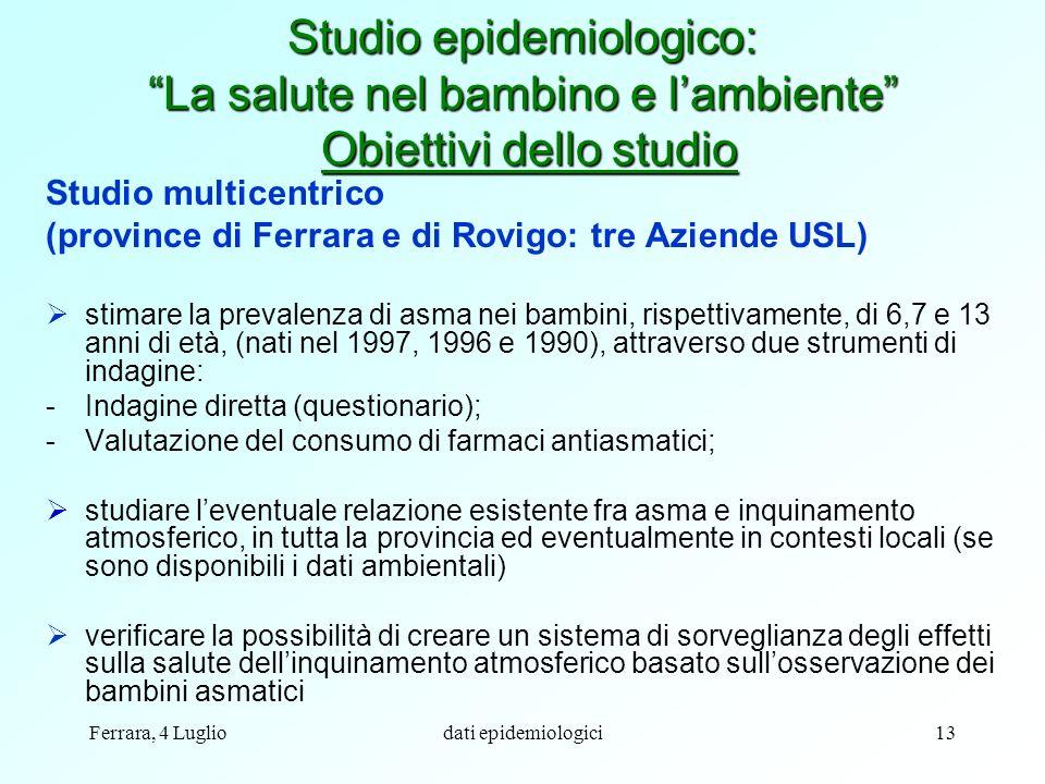 Ferrara, 4 Lugliodati epidemiologici13 Studio multicentrico (province di Ferrara e di Rovigo: tre Aziende USL) stimare la prevalenza di asma nei bambi