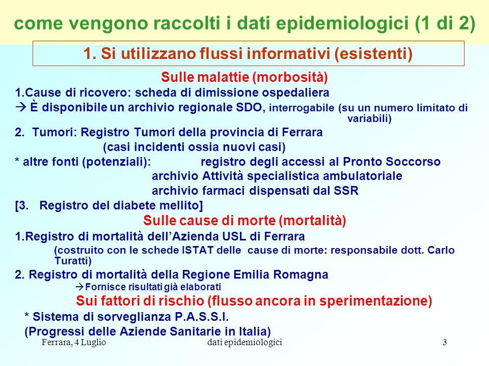 Ferrara, 4 Lugliodati epidemiologici44 Ricoveri per cardiopatie ischemiche Molti fattori diversi influenzano questi dati: offerta sanitaria, appropriatezza, ecc.