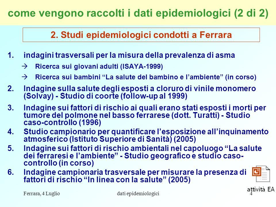 Ferrara, 4 Lugliodati epidemiologici45 Grazie per lattenzione Collaborazione: dott.ssa Federica Rossi