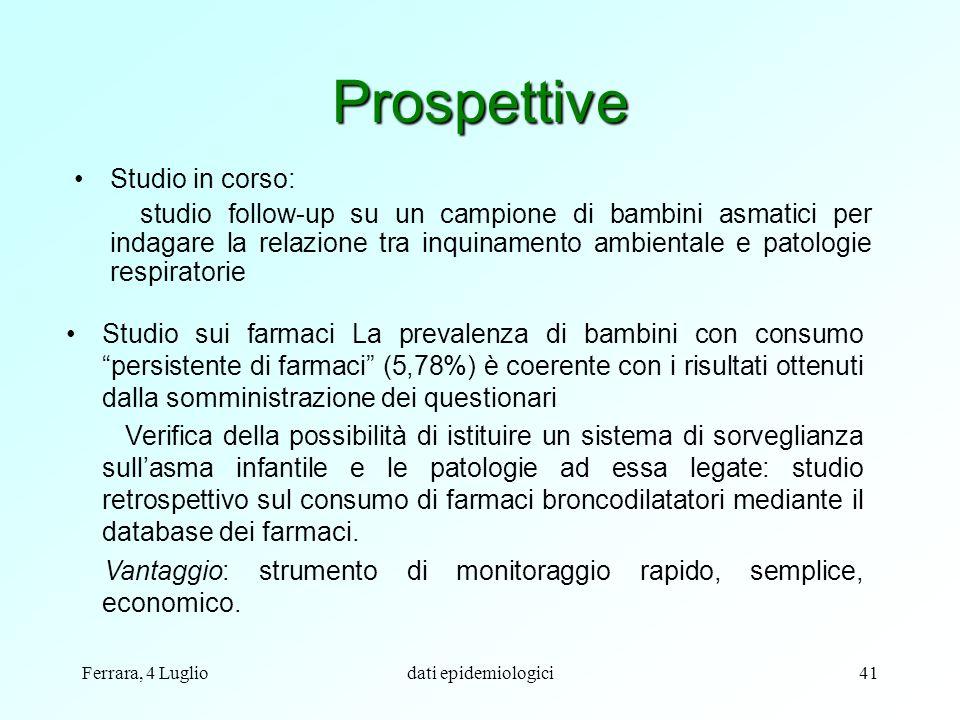 Ferrara, 4 Lugliodati epidemiologici41 Prospettive Studio in corso: studio follow-up su un campione di bambini asmatici per indagare la relazione tra