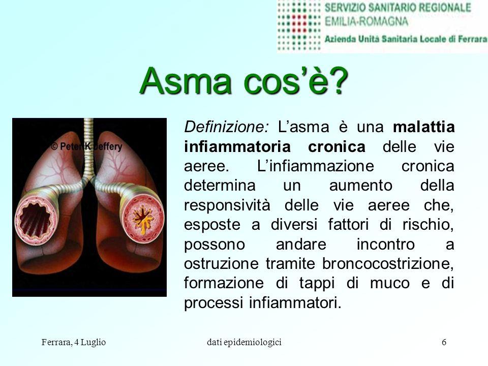 Ferrara, 4 Lugliodati epidemiologici6 Asma cosè? Definizione: Lasma è una malattia infiammatoria cronica delle vie aeree. Linfiammazione cronica deter